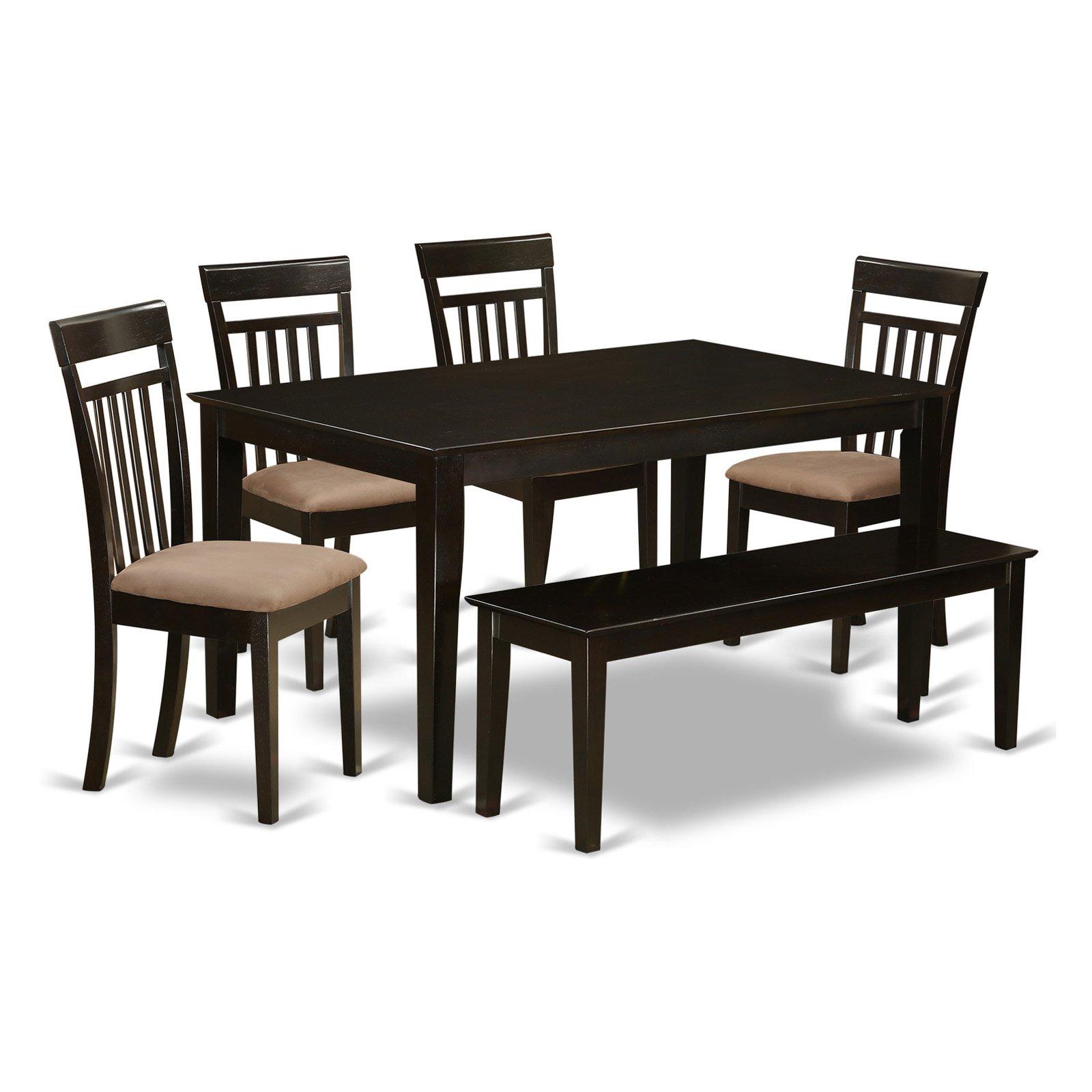 East West Furniture Capri 6 Piece Sheraton Dining Table Set