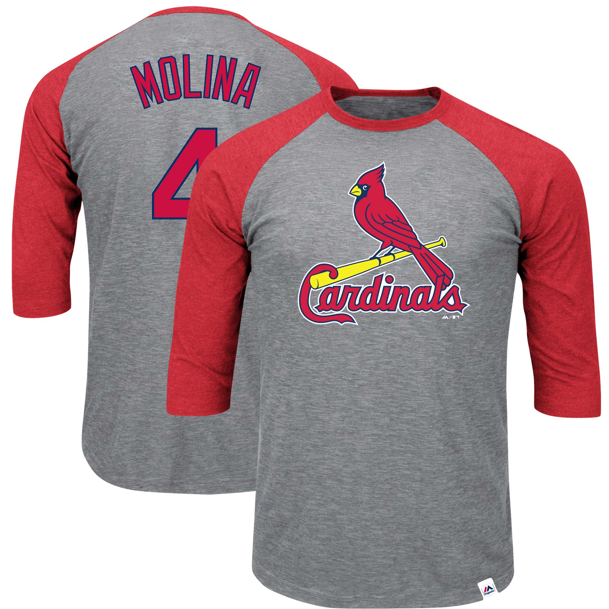 Yadier Molina St. Louis Cardinals Majestic Big & Tall Player Raglan 3/4-Sleeve T-Shirt - Heathered Gray/Red