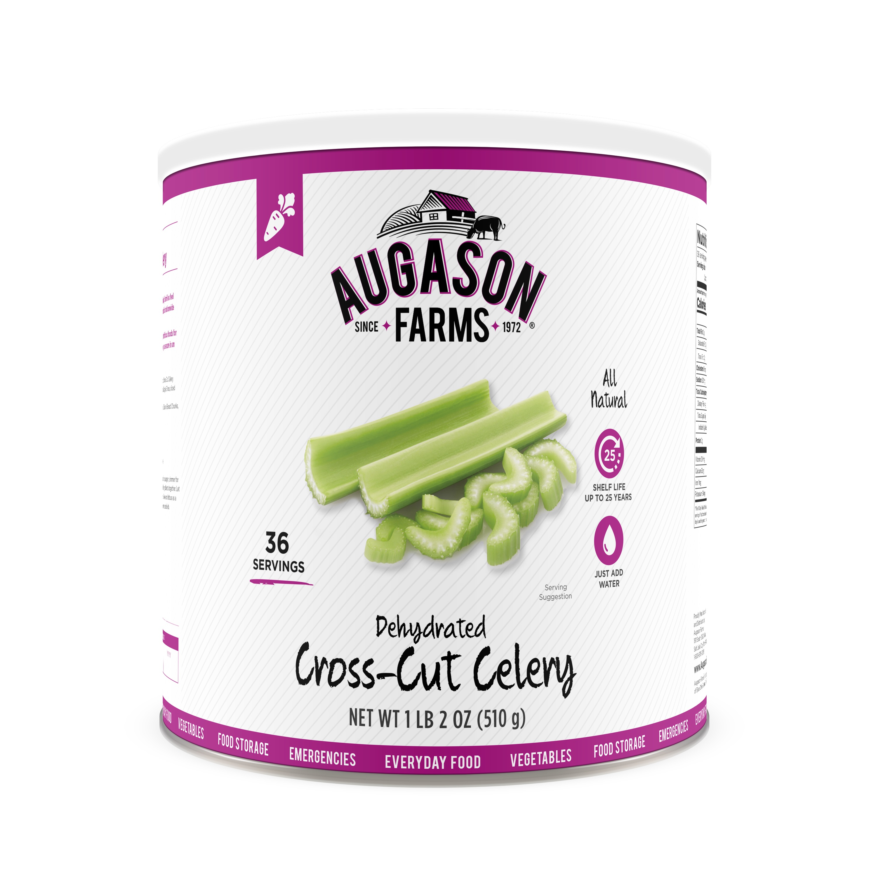 Augason Farms Dehydrated Cross Cut Celery 1 lb 2 oz No. 10 Can