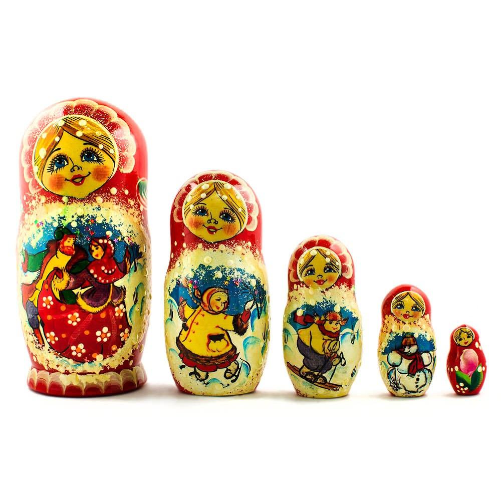 6.5'' Set of 5 Dancing Couple Russian Nesting Dolls