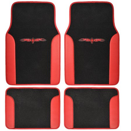 A Set Of 4 Universal Fit Plush Carpet With Vinyl Trim Floor Mats For Cars   Trucks   Tribal Red  Revitalize Your Interior Style With Bdk    By Bdk
