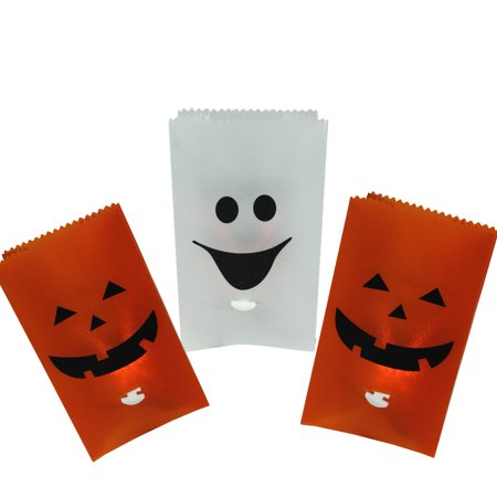 Set of 3 Flickering Light Pumpkin and Ghost Halloween Luminary Pathway Markers ()