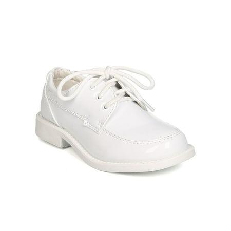 Auston GB31 Boys Patent Leatherette Lace Up Dress Shoe (Little Boy / Big Boy)