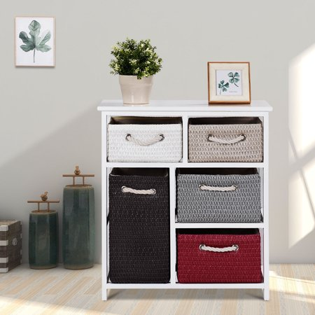 Gymax Nightstands Storage Drawer Unit 5 Woven Basket Cabinet Chest Bedside Side Table ()