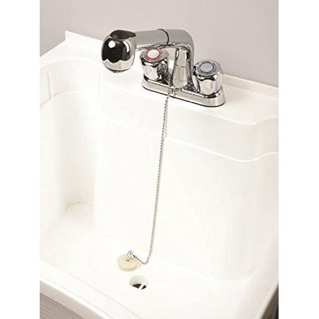 Bath And Utility Sink Drain Stopper With Faucet Tether