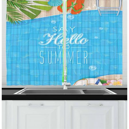 - Hello Summer Curtains 2 Panels Set, Top View of Swimming Pool with Clean Water Flip Flops and Flippers Fun Holiday, Window Drapes for Living Room Bedroom, 55W X 39L Inches, Multicolor, by Ambesonne