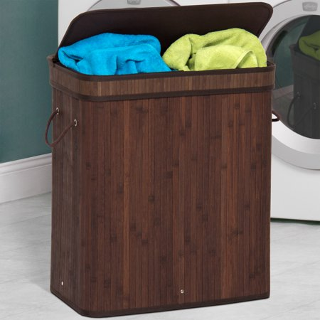 Best Choice Products Foldable Double Section Bamboo Hamper Laundry Basket W Removable Liner Bag Dark Brown