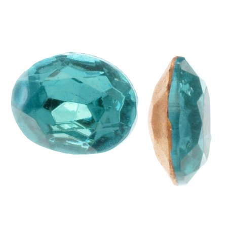 Czech Glass Table Cut - Oval Chatons Pointed Foiled Back Aqua 10x8mm