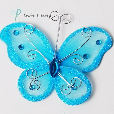 12Pcs Light Blue Organza Tulle Wire Butterfly Butterflies Wedding Arts Crafts 2