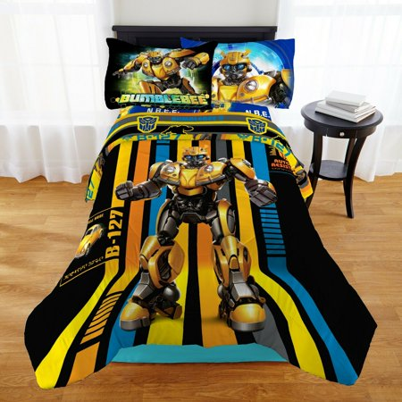 Transformers Bumblebee Boys Twin Comforter & Sheet Set (4 Piece Bed In A Bag)