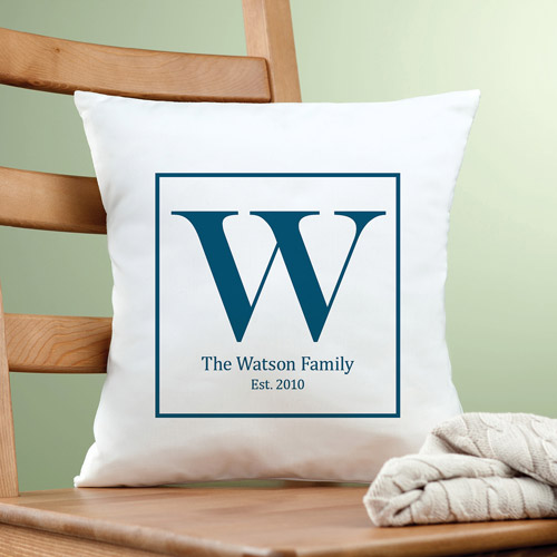 Personalized Family Initial Pillow, Blue