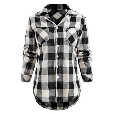 Women Flannel Plaid Shirt Button Down Collar Tops Woolrich Womens Flannel