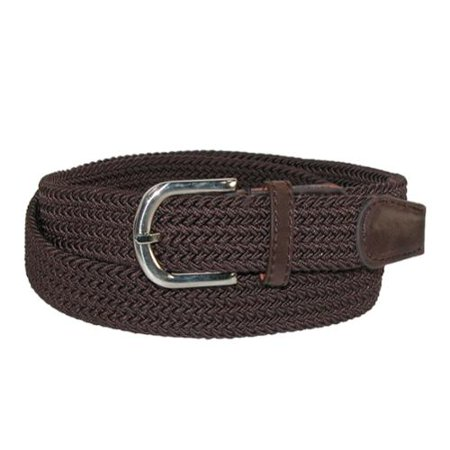 - Size XL (42-44 inches) Mens Elastic Braided Stretch Belt with Silver Buckle and Matching Tabs, Brown