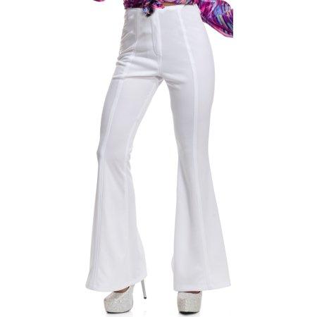 Womens 70s High Waisted Flared White Disco Pants