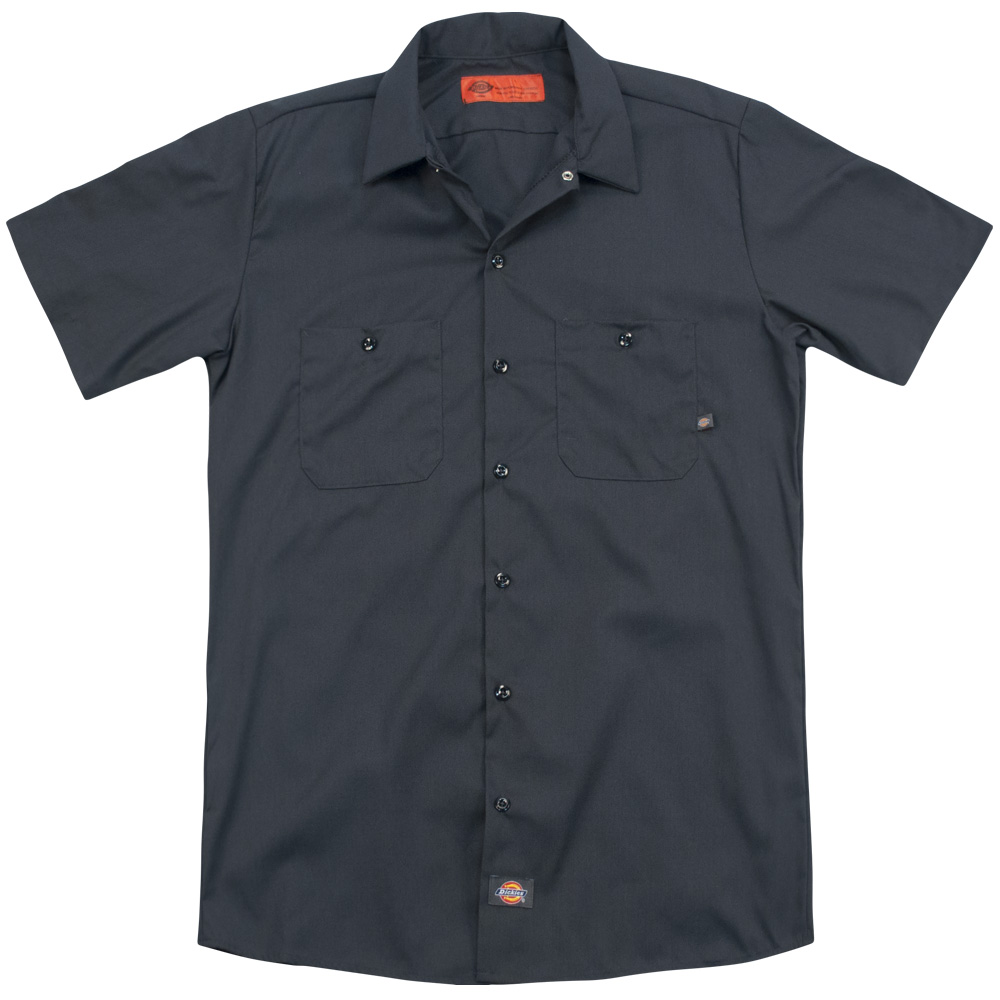 Acdc/Worn Logo (Back Print) Mens Work Shirt (Charcoal, Medium)