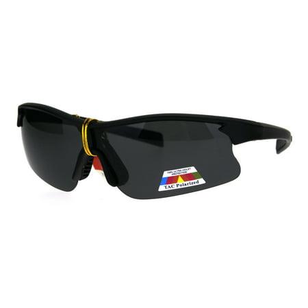 Polarized Mens Half Rim Baseball Sport Plastic Sunglasses Matte (Youth Polarized Baseball Sunglasses)