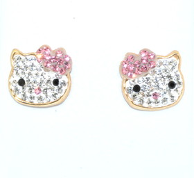 14K Yellow Gold Pink And White Cubic Zirconia Hello Kitty Earrings by MD
