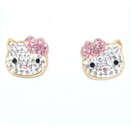 14K Yellow Gold Pink And White Cubic Zirconia Hello Kitty Earrings ()