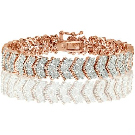 1.00 Carat T.W. Diamond Rose Gold-Tone Miracle-Set Chevron Tennis Bracelet (Classic Tennis Bracelet Set)
