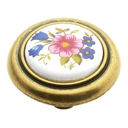 Porcelain Knob Bright Brass Cabinet - Hickory Hardware P776-BQ 1.25 In. English Cozy Bouquet Cabinet Knob