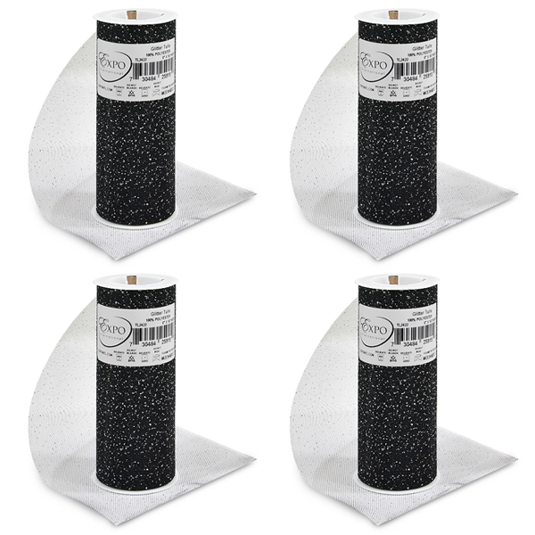 """Expo Int'l Pack of 4 Glitter Tulle Spool 6"""" x 10 Yards"""