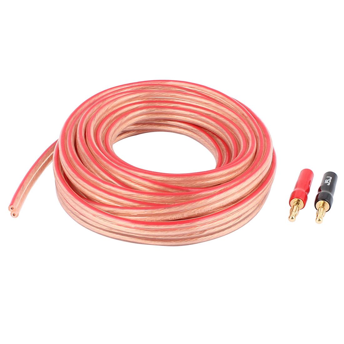 Unique Bargains 5 Meter 16 Ft Speaker 400 Fine Copper Wire Core Cable w 2 Connector