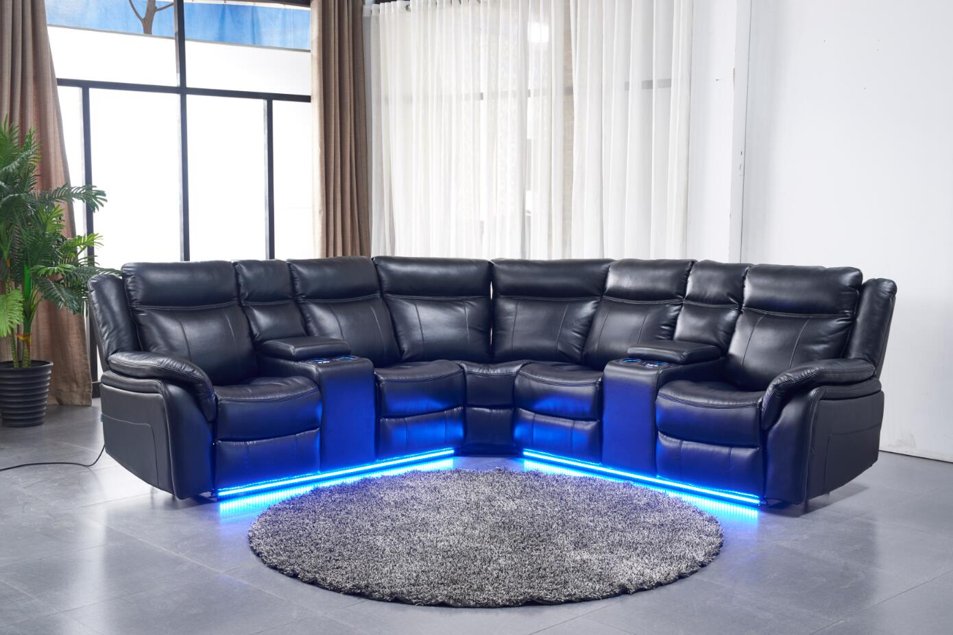 Contemporary Modern Power Motion Recliner Sectional Sofa Set W USB And LED  Lights Black Air Leather Cushion Recliner Loveseats Corner Console Living  ...