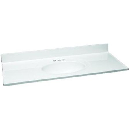 Single Bowl Cultured Marble Vanity Top, 61 x 22 in., White