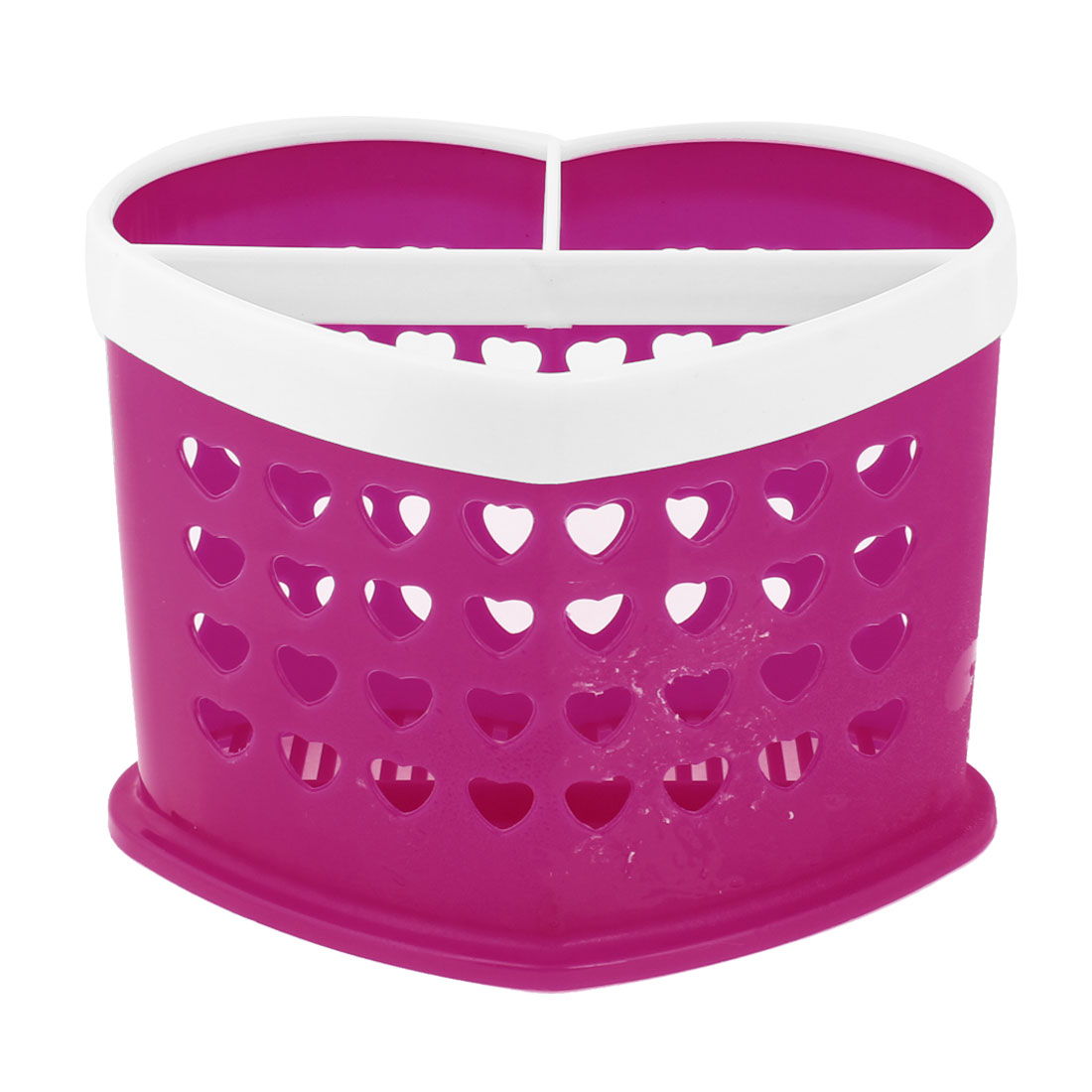 Kitchen Fuchsia White Plastic Heart Shape Chopsticks Spoon Fork Case Container