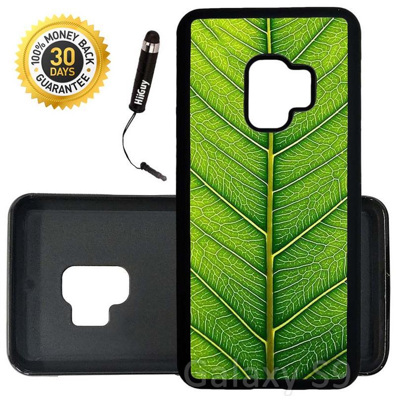Custom Galaxy S9 Case (Fresh Green Leaf) Edge-to-Edge Rubber Black Cover Ultra Slim | Lightweight | Includes Stylus Pen by Innosub