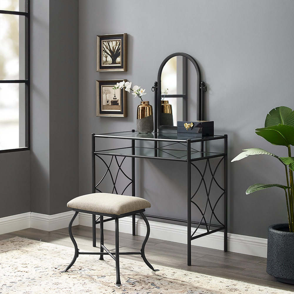 Mainstays Metal and Glass Vanity with Shelf and Upholstered Stool, Black Finish