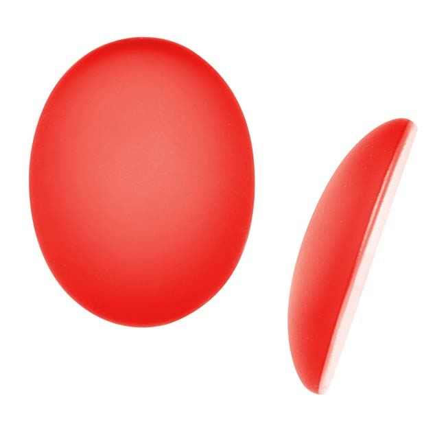 Lunasoft Glowing Lucite Cabochon 24.5x18mm Oval - Matte Cherry Red (1)