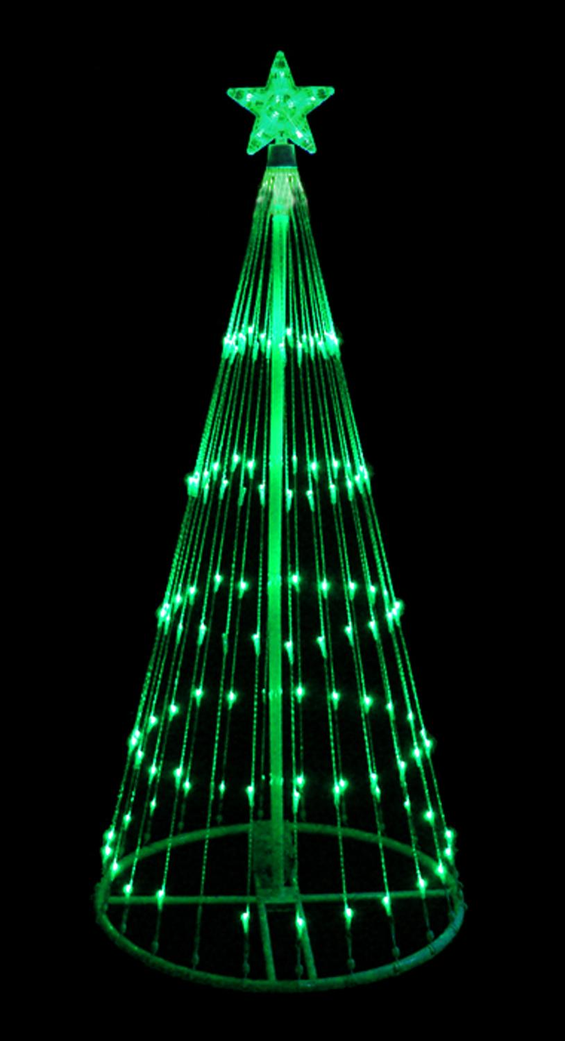 6 Green Led Light Show Cone Christmas Tree Lighted