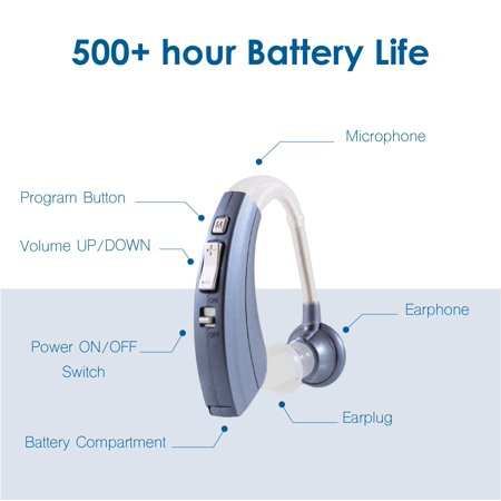 """Digital Hearing Aid Amplifier BHA-220, 500hr Battery Life, """"FDA Approved"""", Silver - image 1 de 2"""
