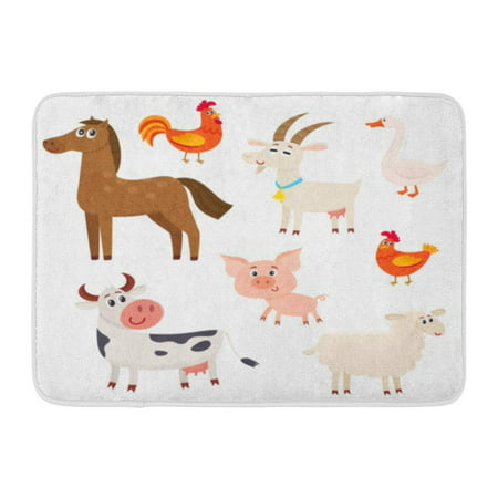 - GODPOK Farm Animals Cow Sheep Horse Pig Goat Rooster Hen Goose Cartoon White Cute and Funny with Friendly Rug Doormat Bath Mat 23.6x15.7 inch
