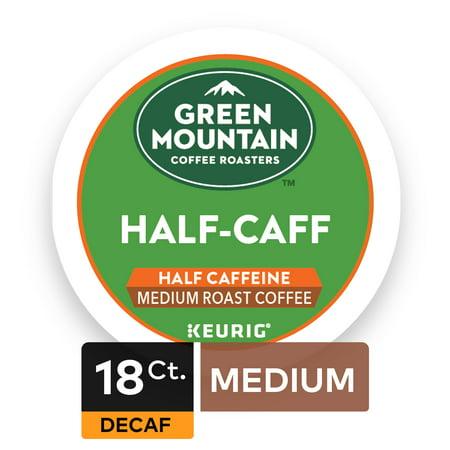 Green Mountain Coffee Roasters Half Caff Keurig Single-Serve K-Cup pods, Medium Roast Coffee, 18 Count