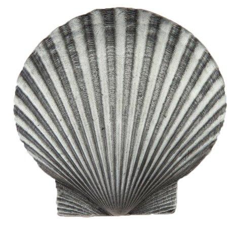 Antique Pewter Scallops - Acorn Large Scallop Novelty Knob