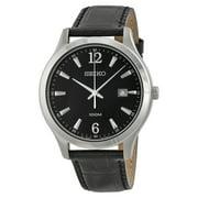 Seiko Men's Black Dial Black Leather Watch SUR055