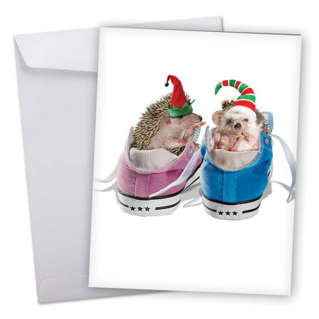 J6541HXSG Large Merry Christmas Card: 'Holidays from the Hedge' Featuring Adorable Hedgehogs Wearing Santa's Hats Perched in Sneakers Greeting Card with Envelope by The Best Card