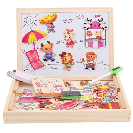 Children's toys wooden jigsaw imposition animal fight spell music double-sided magnetic drawing board children's puzzle