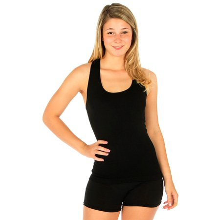 Neck Cami (Basic Scoop Neck Plain Ribbed Racerback Cami Stretch Long Tee Tank Top Seamless)