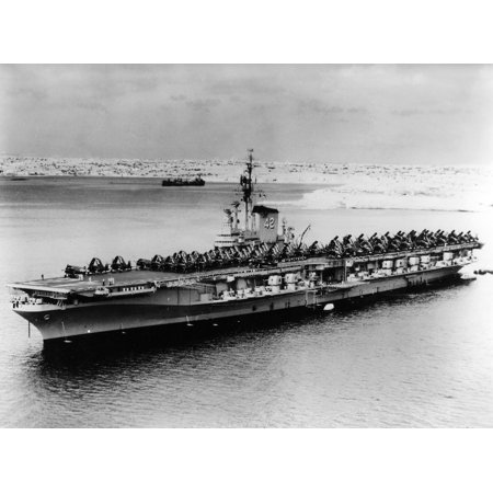 LAMINATED POSTER The U.S. aircraft carrier USS Franklin D. Roosevelt (CVB-42) anchored at an unknown location in the Poster Print 24 x - Franklin Roosevelt Portrait