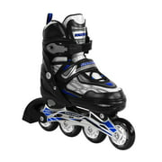 Blue Adjustable Inline Skates for Kids and Adults Safe and Durable Blades for Girls and Boys, Men and Ladies