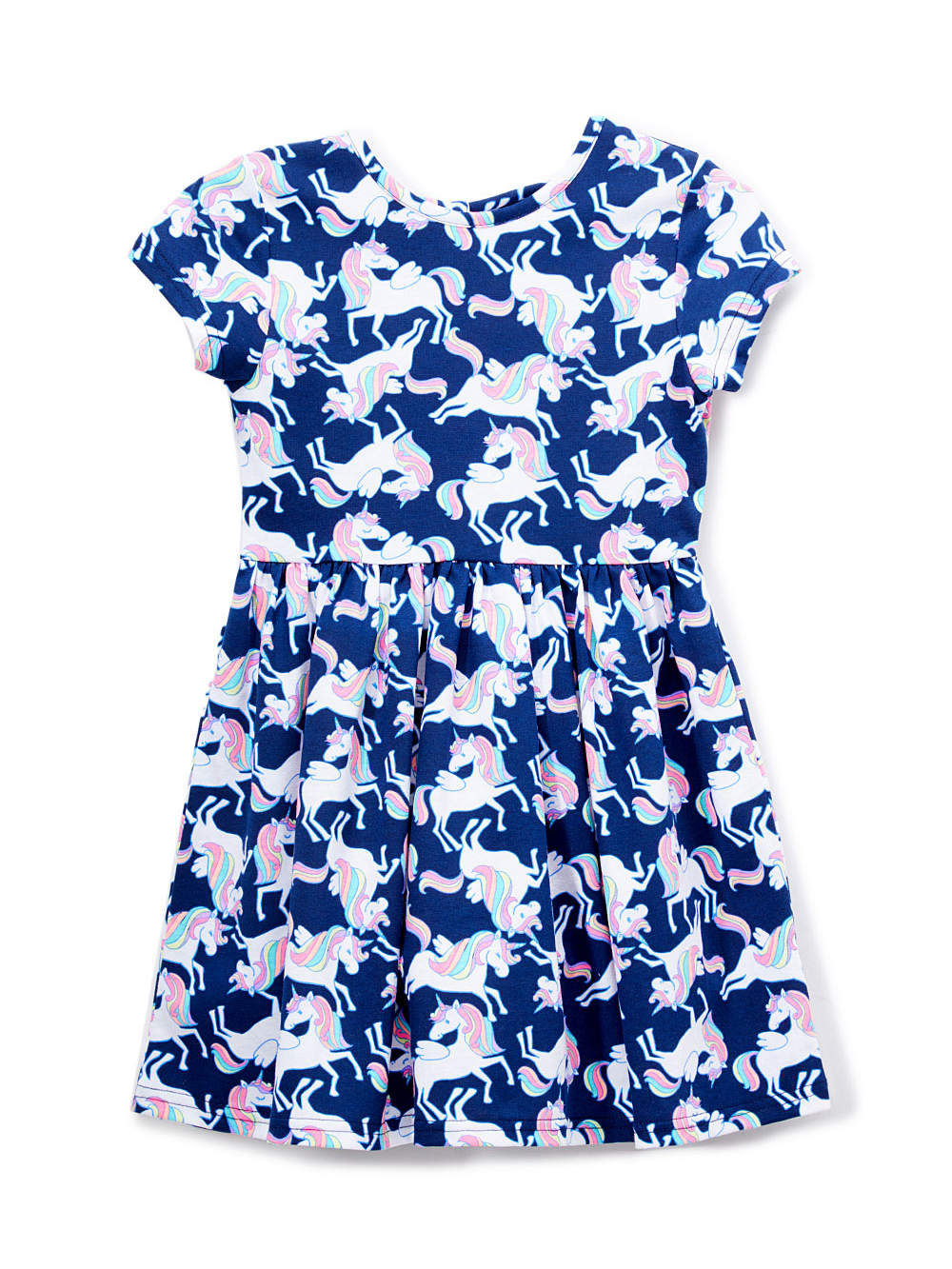 Unicorn Printed Bow-Back Dress (Toddler Girls)