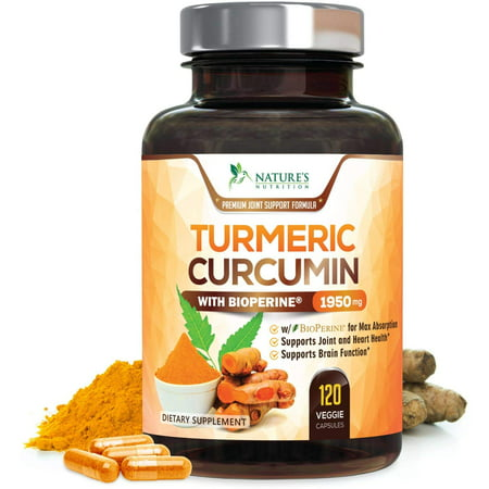 NEW Turmeric Curcumin Max Potency 95% Curcuminoids 1950mg with Bioperine Black Pepper for Best Absorption, Anti-Inflammatory Joint Relief, Turmeric Supplement Pills by Natures Nutrition - 120