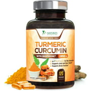 NEW Turmeric Curcumin Max Potency 95% Curcuminoids 1950mg with Bioperine Black Pepper for Best Absorption, Anti-Inflammatory Joint Relief, Turmeric Supplement Pills by Natures Nutrition - 120 Capsules