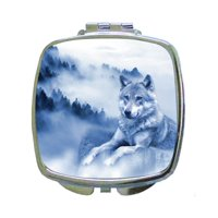 Wolf on a Misty Mountain - Compact Square Silvertone Mirror