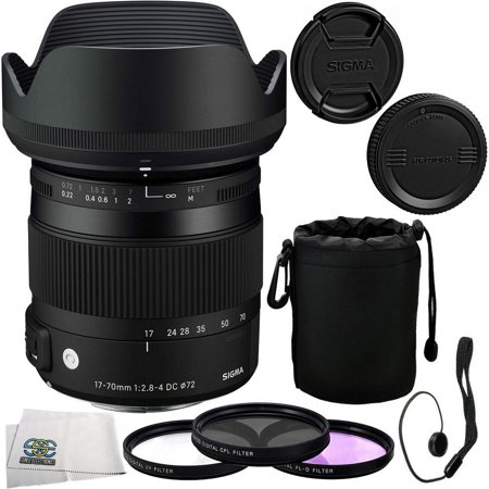 Sigma 17-70mm F2.8-4 DC Macro OS HSM Lens Kit for Nikon Digital Cameras Includes: Sigma 17-70mm DC Macro OS HSM Lens, 3 Piece Filter Kit (UV-FLD-CPL), Lens Cap Keeper, Lens Protective Pouch and SSE