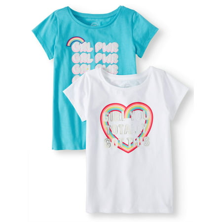 Graphic T-Shirts, 2-Pack (Little Girls & Big (Girls Custom Made T-shirt)