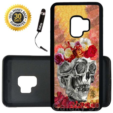 Custom Galaxy S9 Case (Skull With Flower Crown) Edge-to-Edge Rubber Black Cover Ultra Slim | Lightweight | Includes Stylus Pen by - Black Flower Crown